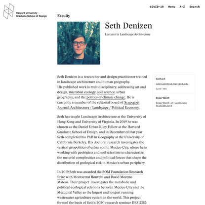Seth Denizen - Harvard Graduate School of Design