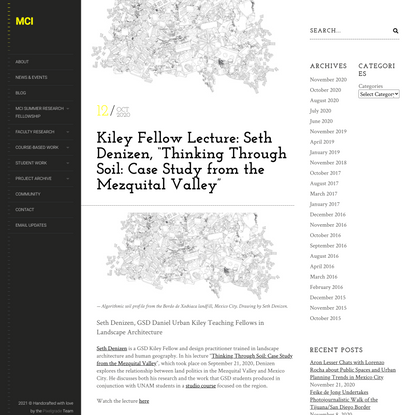 "Kiley Fellow Lecture: Seth Denizen, ""Thinking Through Soil: Case Study from the Mezquital Valley"""