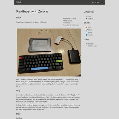 Kindleberry Pi Zero W - BLOG