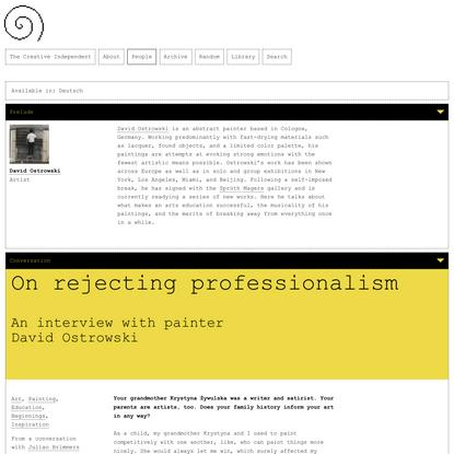 David Ostrowski on rejecting professionalism