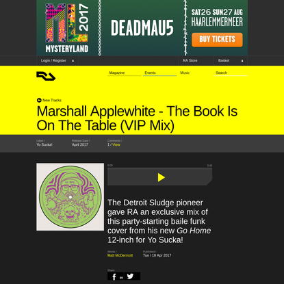 Marshall Applewhite - The Book Is On The Table (VIP Mix) on Yo Sucka!