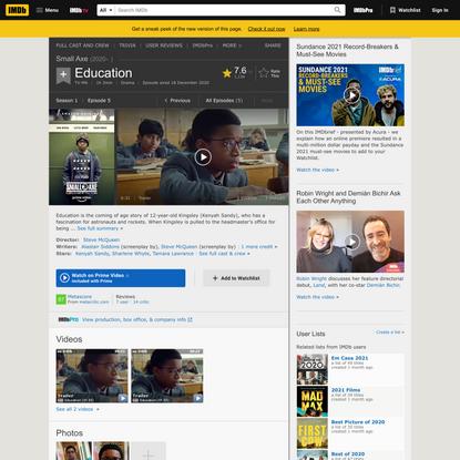 """Small Axe"" Education (TV Episode 2020) - IMDb"