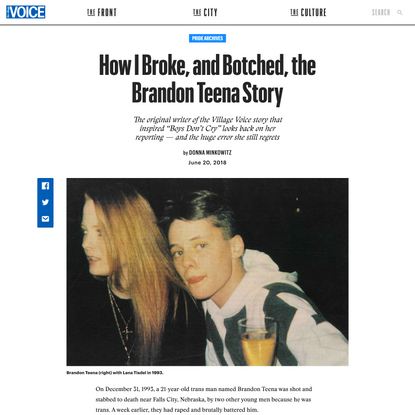 How I Broke, and Botched, the Brandon Teena Story | The Village Voice
