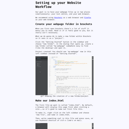 webpage setup