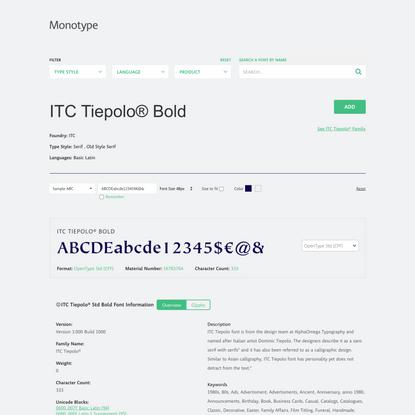 ITC Tiepolo® Bold