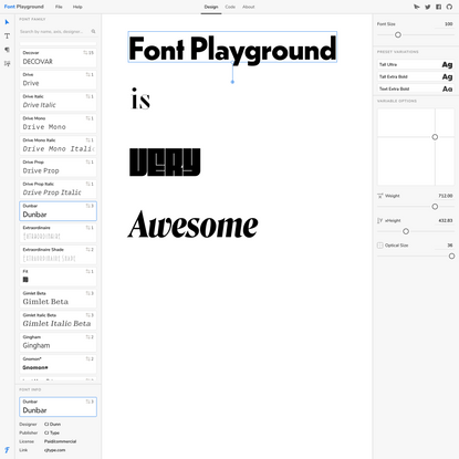 Font Playground -- Play with variable fonts!