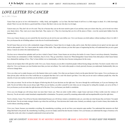 Love Letter to Cancer
