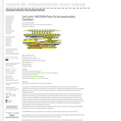GFZK Leipzig Website / Blog Archive / Urs Lehni. INFORM-Preis für konzeptionelles Gestalten