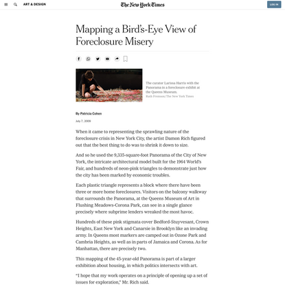 Mapping a Bird's-Eye View of Foreclosure Misery (Published 2009)