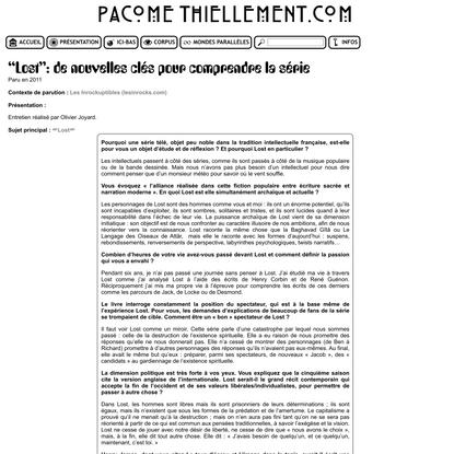 """Pacôme Thiellement - """"Lost"""": de nouvelles clés pour comprendre la série"""