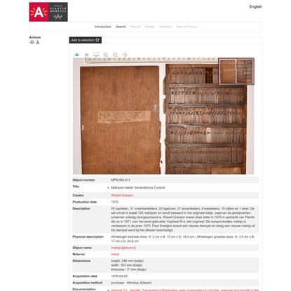Museum Plantin-Moretus Online Catalogue | Details