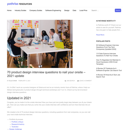 70 product design interview questions to nail your onsite - 2021 update - Pathrise Resources
