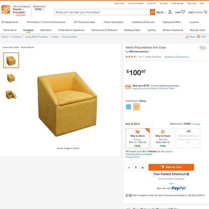 ORE International Yellow Polyurethane Arm Chair-HB4428 - The Home Depot