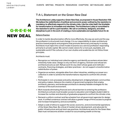 T-A-L Statement on the Green New Deal – The Architecture Lobby