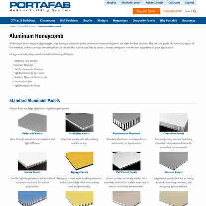 PortaFab Aluminum Honeycomb Panels
