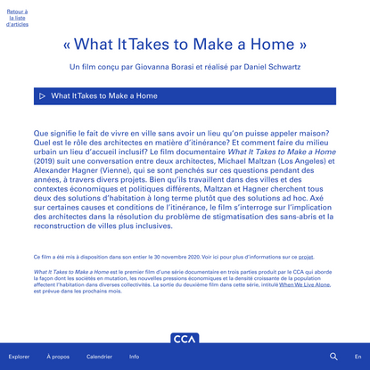 « What It Takes to Make a Home »