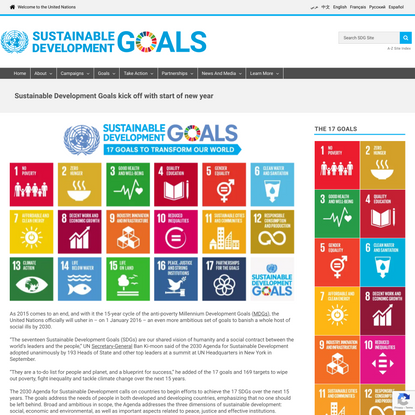 Sustainable Development Goals kick off with start of new year