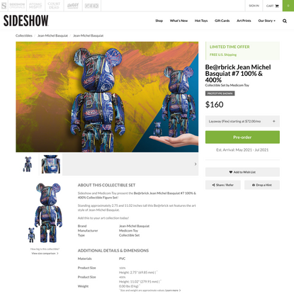Be@rbrick Jean Michel Basquiat #7 100% & 400% Collectible Set by Medicom Toy | Sideshow Collectibles