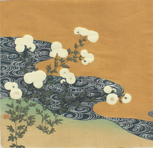 TSUKIOKA Kōgyo(月岡 耕漁 Japanese, 1869-1927) Chrysanthemums along a stream, 1900