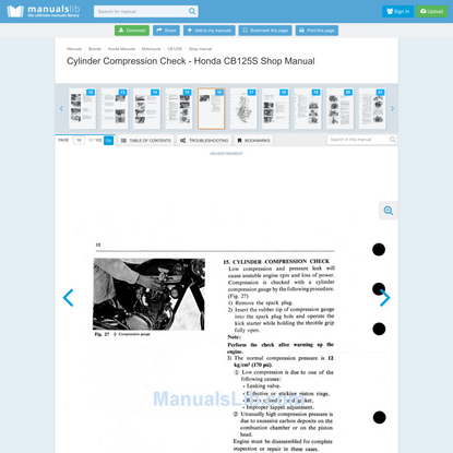 Cylinder Compression Check - Honda CB125S Shop Manual [Page 16]   ManualsLib