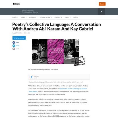 Poetry's Collective Language: A Conversation With Andrea Abi-Karam And Kay Gabriel