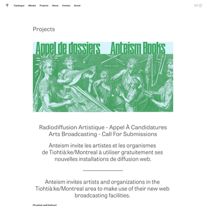 Projects — Anteism Books