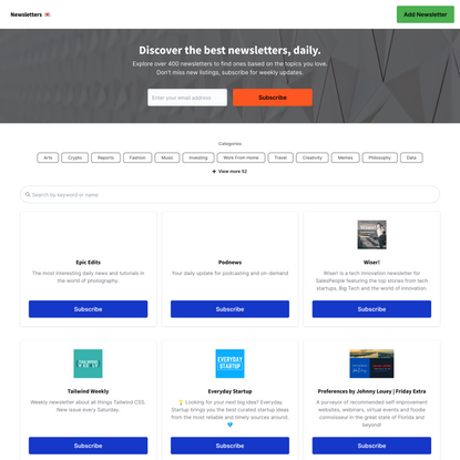Newsletters - The newsletter directory to discover newsletters.