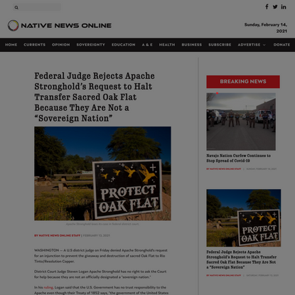 """Federal Judge Rejects Apache Stronghold's Request to Halt Transfer Sacred Oak Flat Because They Are Not a """"Sovereign Nation"""""""