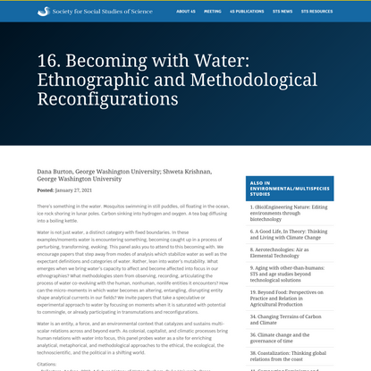 16. Becoming with Water: Ethnographic and Methodological Reconfigurations - Society for Social Studies of Science