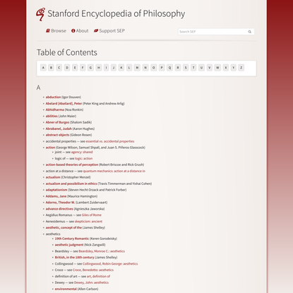 Table of Contents (Stanford Encyclopedia of Philosophy)