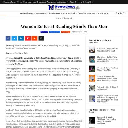 Women Better at Reading Minds Than Men - Neuroscience News