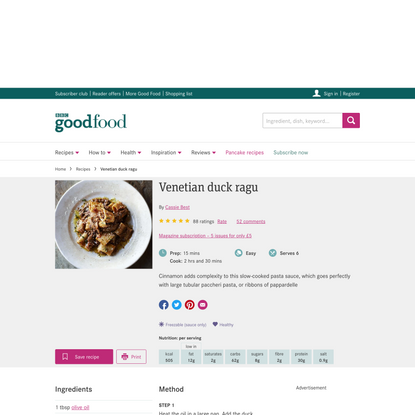 Venetian duck ragu recipe - BBC Good Food