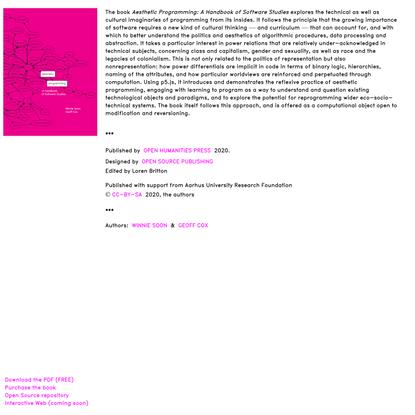 Aesthetic Programming: A Handbook of Software Studies