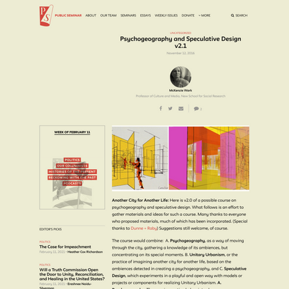 Psychogeography and Speculative Design v2.1 - Public Seminar