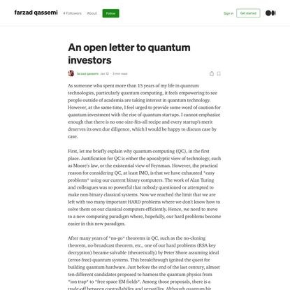 An open letter to quantum investors