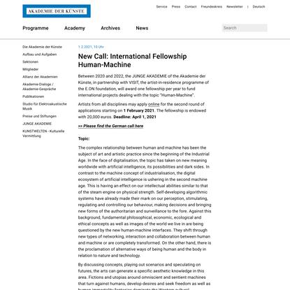 New Call: International Fellowship Human-Machine