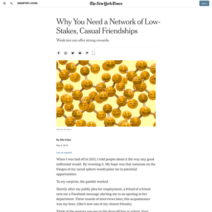 Why You Need a Network of Low-Stakes, Casual Friendships (Published 2019)