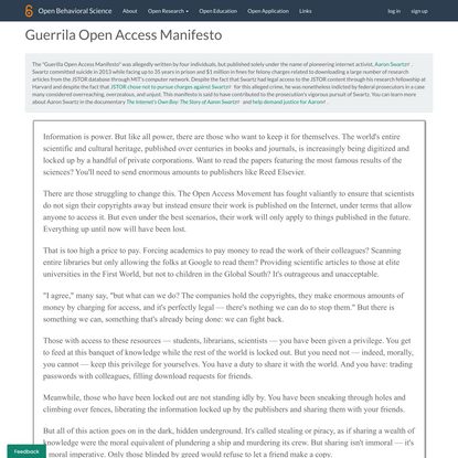Guerrila Open Access Manifesto