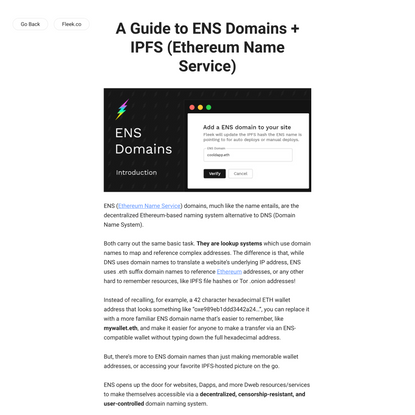 A Guide to ENS Domains + IPFS (Ethereum Name Service) - Fleek Blog
