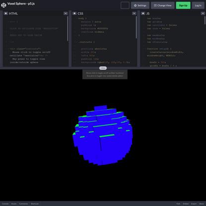 Voxel Sphere - p5.js