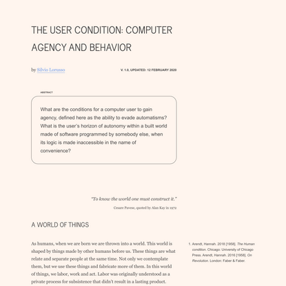 The User Condition