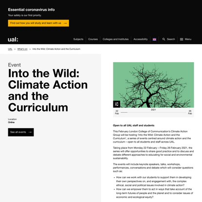 Into the Wild: Climate Action and the Curriculum