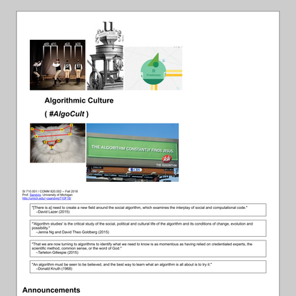 Algorithmic Culture | Syllabus