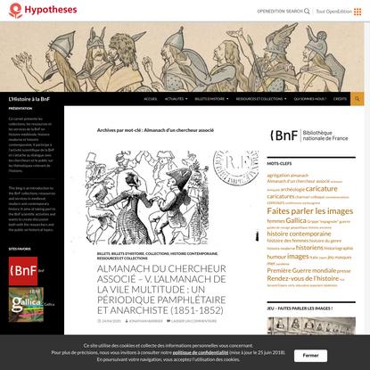 Almanach d'un chercheur associé | L'Histoire à la BnF