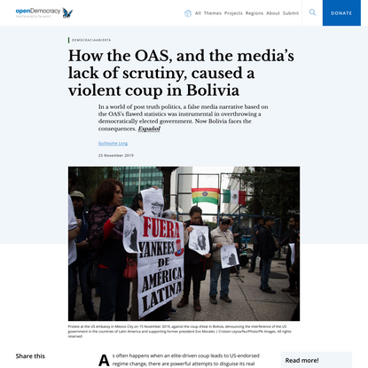 How the OAS, and the media's lack of scrutiny, caused a violent coup in Bolivia | openDemocracy