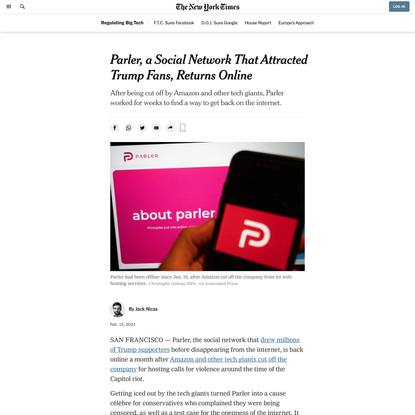 Parler, a Social Network That Attracted Trump Fans, Returns Online