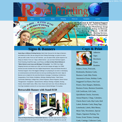 Royal Printing   Detroit Michigan Printing Services. The Tri-County Area's Finest Printing Service. Detroit Michigan Commercial Offset Printing Services, specializing in: Presentation Folders, Brochures, Business Cards, NCR Forms and Flyers.