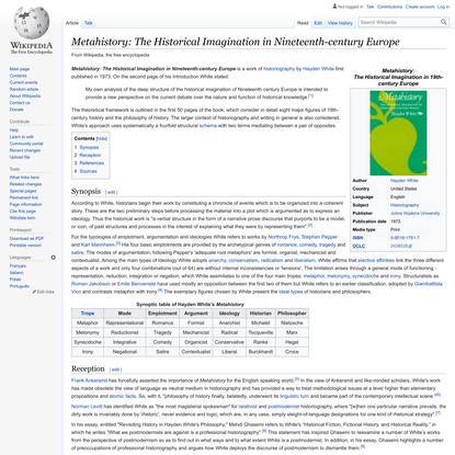 Metahistory: The Historical Imagination in Nineteenth-century Europe - Wikipedia