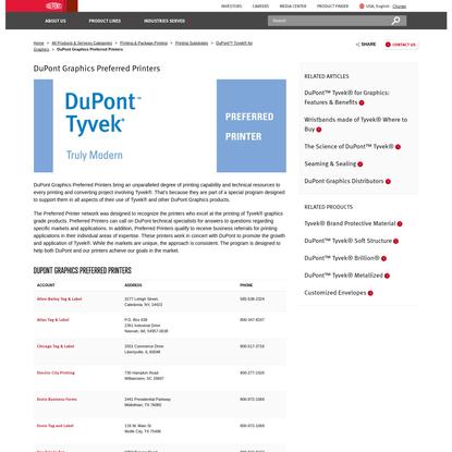 Preferred Printers   DuPont Graphics   DuPont USA