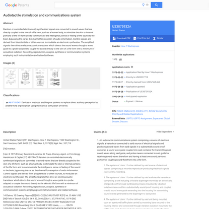 US3875932A - Audiotactile stimulation and communications system - Google Patents